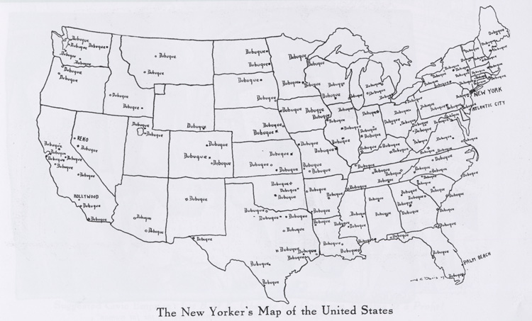 Spot The Tiny Number Of Places That Dubuque Reno Nevada Didn T Seem To Loom As Large For The New Yorker As The Map Would Suggest